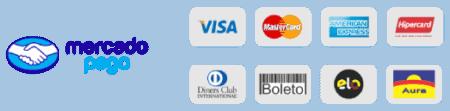 Cartões aceitos pelo Mercado Pago: Visa, Mastercard, Amex, Hipercard, Diners, Boleto, Elo e Aura